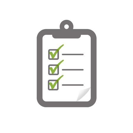 whitespace: check box ticked green on clipboard symbolizing assessment checklist