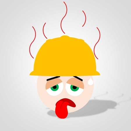 air condition: exhausted worker from hot air condition with smoke emmitting helmet
