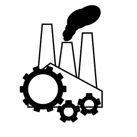 smog: industrial pollution concept a factory and smog and gear