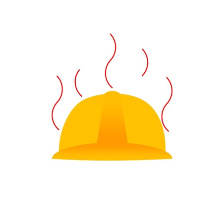 exhaustion: hot helmet symbolizing hot weather condition or occupational heat exhaustion Illustration