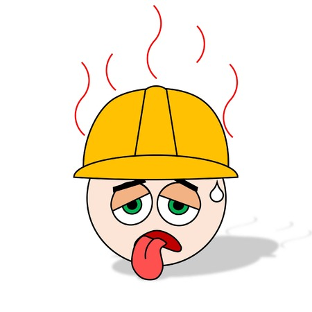 air condition: heat exhaustion of worker from hot air condition Illustration