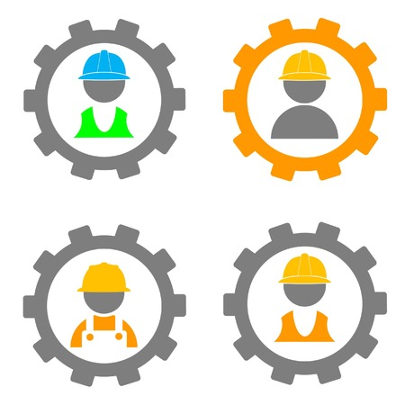 apparel part: set of worker and cogwheel icons illustration Illustration