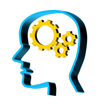 brain function: Human intelligence and brain function represented by gears and cogs in the shape of a head representing the symbol of psychology with mental health and proper neurological functioning