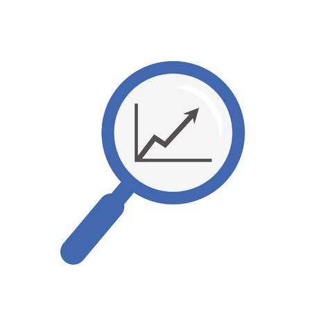 flat magnifier focused on simple arrow growth graph Illustration