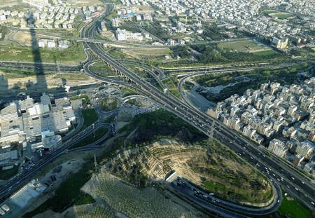 metropolis: aerial view of tehran metropolis