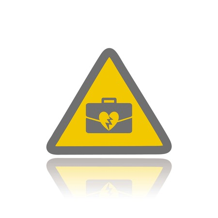 symbolized: occupational violence or office stress symbolized by broken heart and briefcase on hazard triangle