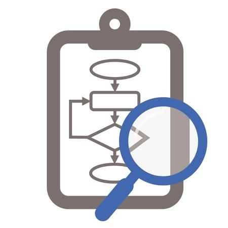 クリップボードとプロセスの分析を示す拡大鏡で焦点を当てたのフローチャート