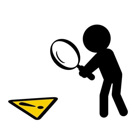 hazards: man looking for hazards with magnifier symbolizing hazard identification Illustration