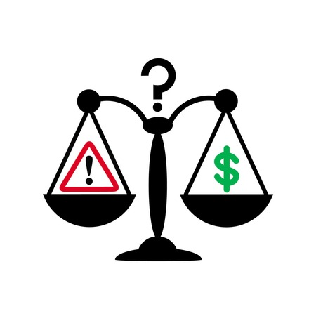 risk management concept by judgment between cost and magnitude of risk symbolizing by balance, hazard, question and dollar sign