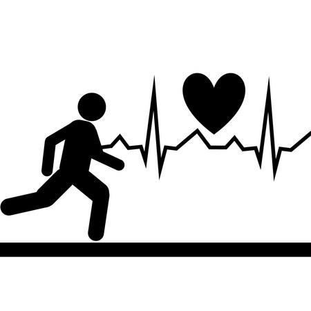 cardiological: EKG strip of Silhouette running man
