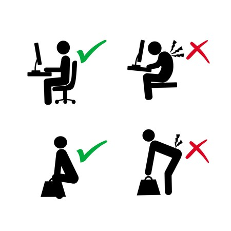 ergonomic: ergonomic posture of computer user and lifting load vs wrong posture in silhouette illustration
