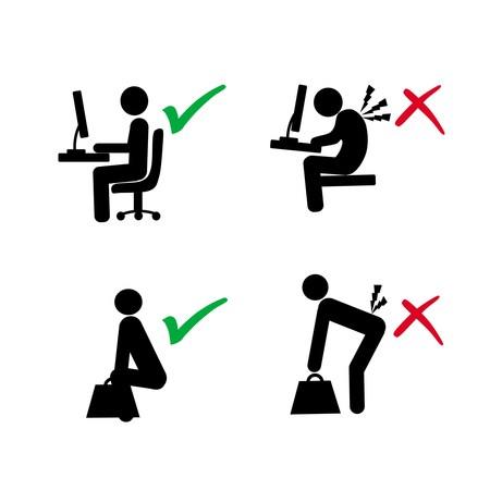 ergonomische houding van de computer van de gebruiker en het heffen van belasting vs verkeerde houding in silhouet illustratie
