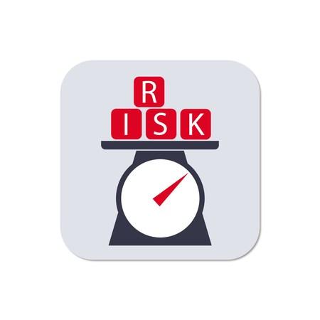 Risikobewertung Symbol mit Skala Gewichtung Alphabet Würfel von Risiko als Symbol in rot