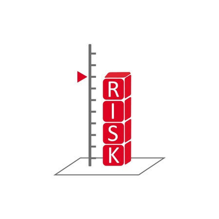 endanger: risk assessment concept symbolizing with scale and alphabet cubes showing word risk in red