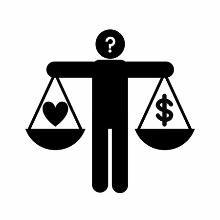 job satisfaction: job satisfaction concept symbolizing by human holding balance, heart, question and dollar sign in hands for making decision between money and emotion
