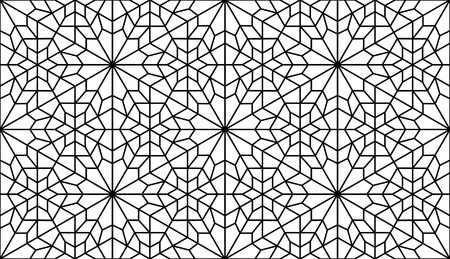 reticular: traditonal persian art in black and white lattice pattern Illustration
