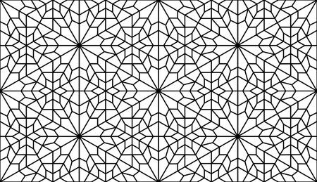 traditonal: traditonal persian art in black and white lattice pattern Illustration