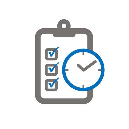 hazardous imperil: clipboard and clock symbloizing accomplishing objective ontime a flat icon Illustration