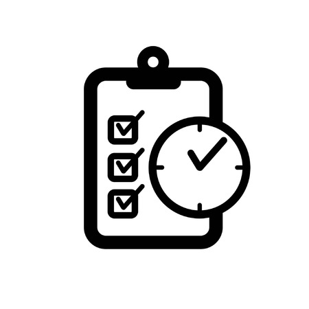 clipboard and clock symbloizing accomplishing objective ontime a simple black and white flat icon Иллюстрация