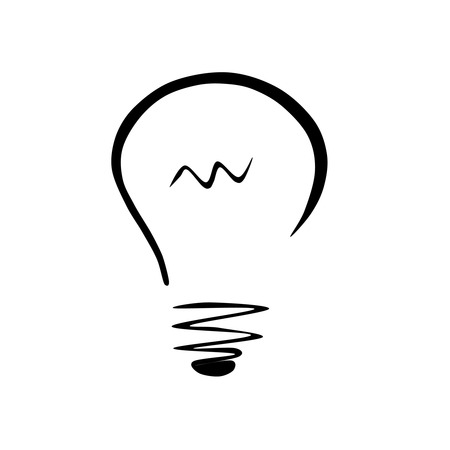 Glühbirne Idee in schwarz und weiß Illustration
