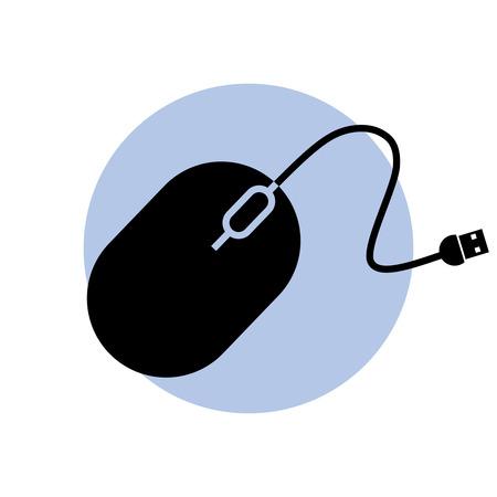 Schwarz Computer-Maus auf blauen Kreis Hintergrund