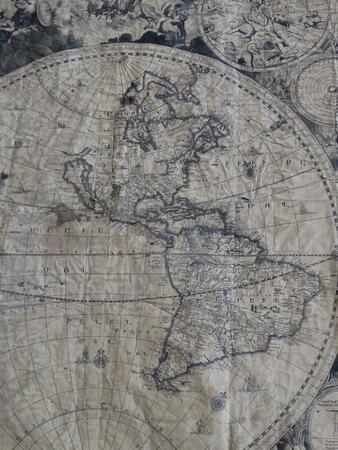 Die alte Karte von Jahan Nama in armenischer Sprache im Jahre 1695 AD. Foto wurde Isfahan Museum in Iran gefangen und es ist offen Zugang Lizenzfreie Bilder