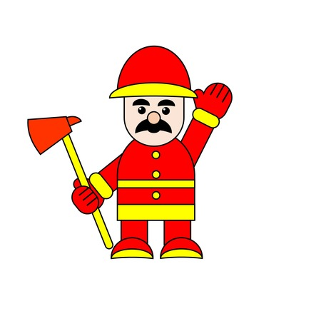 Feuerwehr Charakter hält Axt Vektor Illustration