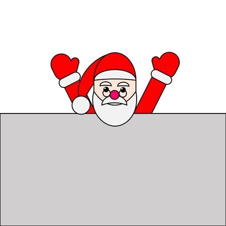 weihnachtsmann holding hands up hinter einem bilboard