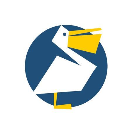 Eine Pelikan-Ikone in geometrischen Design Illustration.