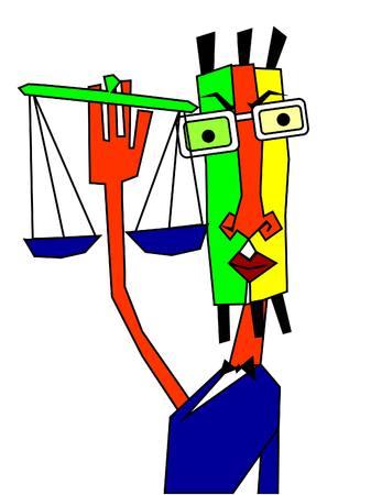 Ein ernster Mann, der eine Balance hält, die Gerechtigkeit symbolisiert, eine Kubismus-Stilmalerei.