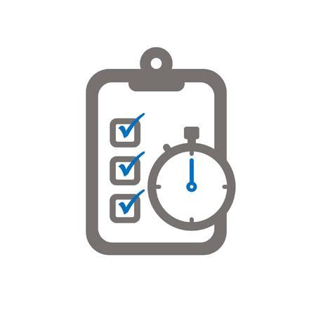 Zwischenablage und Chronometer symbloisieren die erreichten Ziele zu einer flachen Ikone