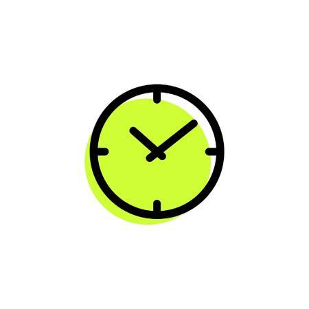 Uhr-Symbol eine einfache Zitrone Farbe Linie Vektor-Zeichen