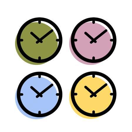Uhr-Symbol einfachen Vektor anmelden rot gelb grün und blau Illustration