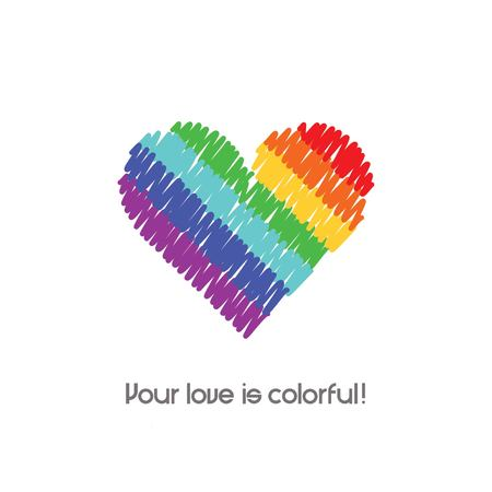 colorful heart shows love Illustration