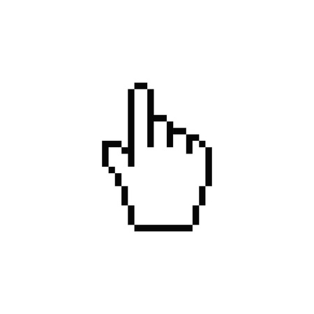 hand pointer by pixel shows isolated cursor icon Illustration