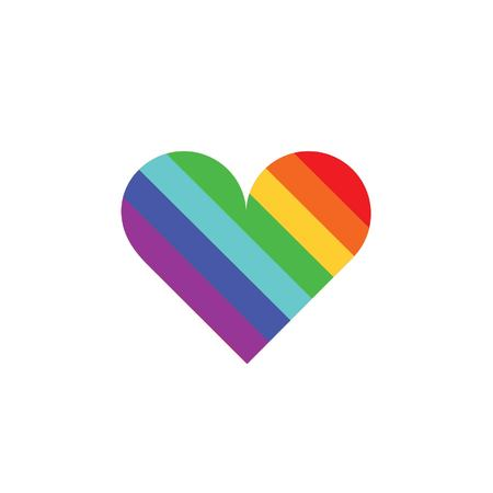 rainbow heart shows colorful strips Illustration