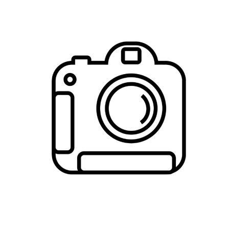 Advanced digital camera in simple line vector image. Illustration