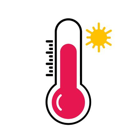 hot temperatue on thermometer with yellow sun symbol