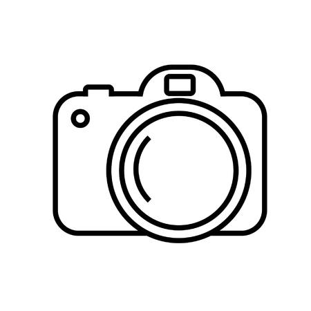 Digital camera icon in simple vector image by line art