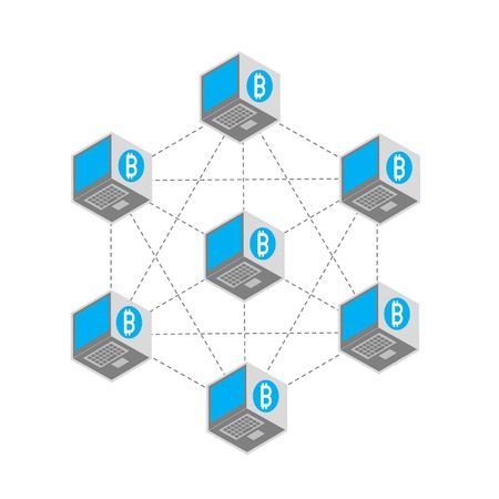 blockchain concept infography by laptop cubes and bitcoin symbol (1)