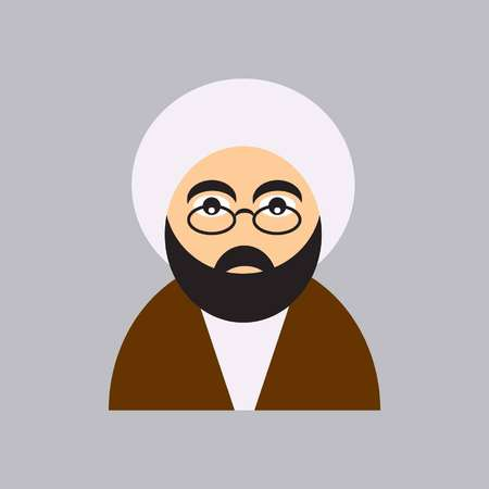 mullah icon shows a young clergyman with a white turban and brown aba and glasses  イラスト・ベクター素材
