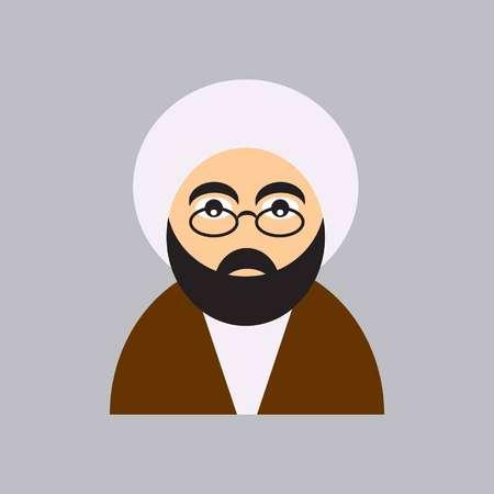 ikona mułły przedstawia młodego duchownego w białym turbanie i brązowej abie oraz w okularach Ilustracje wektorowe