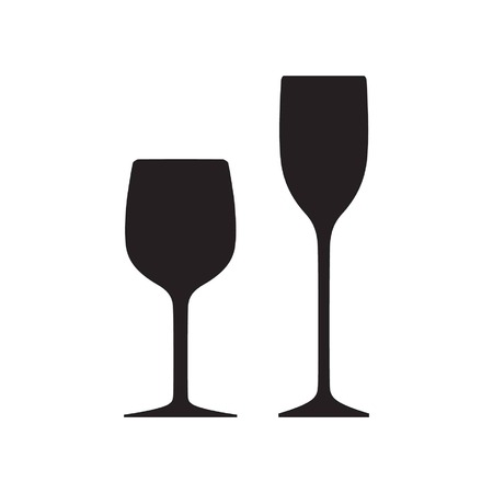 two glasses in silhouette or black and white slim and fat glasses Vector illustration. Illustration