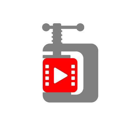 Video compressing icon shows a video cube compressed by clamp