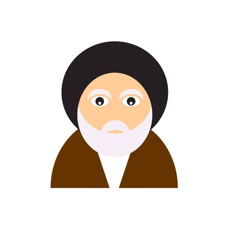 mullah or akhond icon shows a iranian clergyman with a black turban Illustration