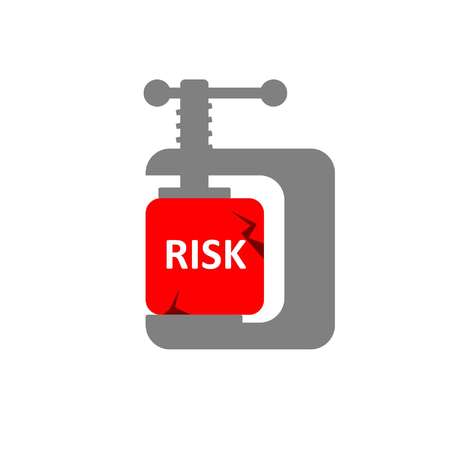 Risk reduction concept shows a clamp compressing red risk cube