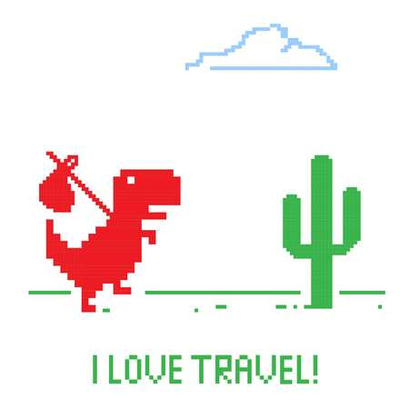 Travel love shows by a dinosaur is running in desert with his luggage