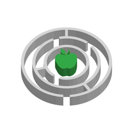 3D maze and apple as health symbol in flat style  イラスト・ベクター素材