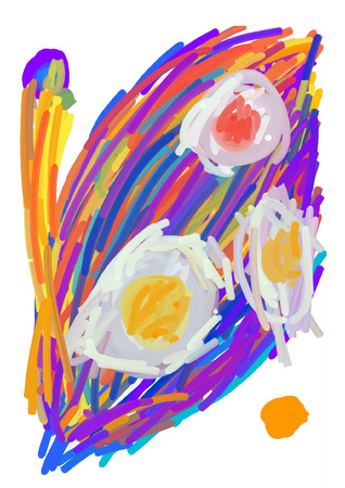 abstract Fried egg on colorful background  イラスト・ベクター素材