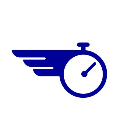 flying time shows by a stopclock and wing Stock Illustratie